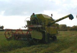 Contractor Alan Bickerton on a combine harvester.