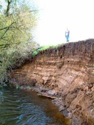 Erosion of the bank