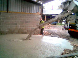 First pour of concrete