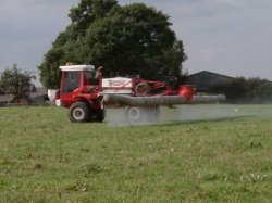Spraying the field.